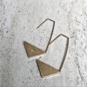 Geometric Metal Drop Earrings Gold